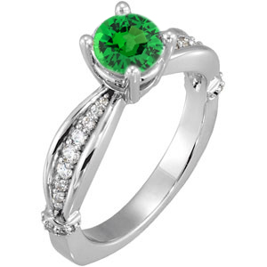Radiant Sculpted Style 1 carat 6mm Tsavorite Garnet Solitaire Engagement Ring - Dazzling Diamond Accents