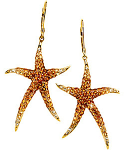 Radiant2.74ct Multicolor Gemstone Starfish Earrings set in 14 karat Yellow Gold