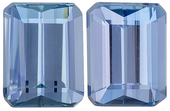 Rare Color in Matched Deep + Blue Brazilian Aquamarines - 9 x 6.8 mm, Emerald Cut, 4.12 carats