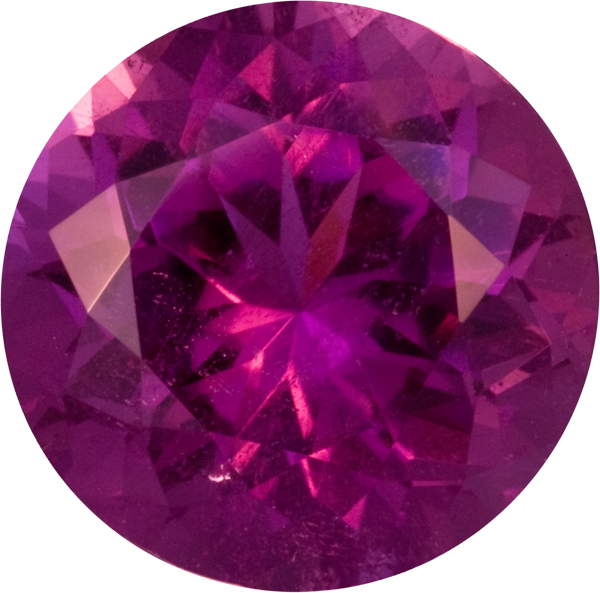 Rare Color in Neon Magenta Tourmaline Round German Cut Gem, Mozambique Stone 14mm, 9.88 carats
