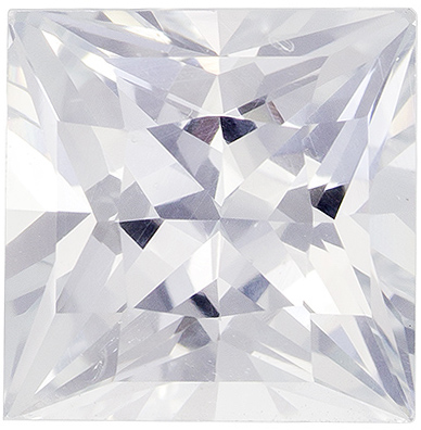 Rare Cut Size in White Sapphire Princess Cut, Pure Colorless White, 6.8 mm, 2.03 carats