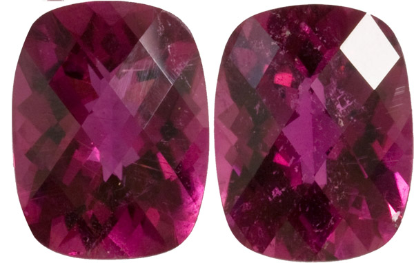 Rare Deep Red Tourmaline Matched Pair in Antique Cushion German Cut, Intense Red Color in 11.0 x 9.0 mm, 8.11 carats