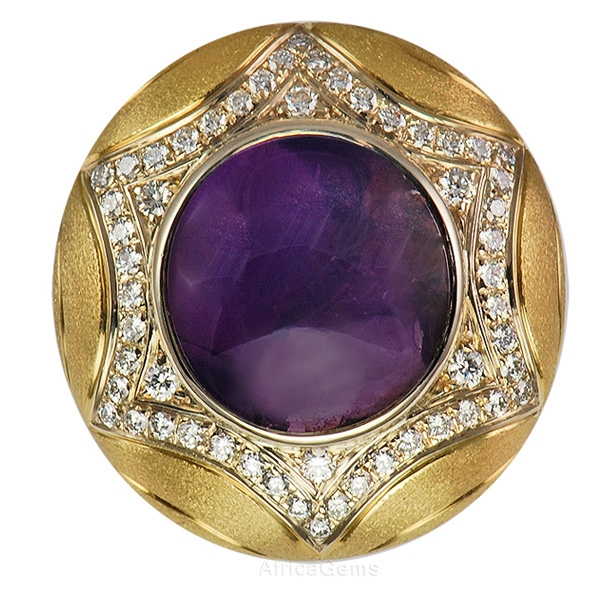 Rare Gem Purple Star Sapphire Ring set with Sunburst Pave Diamonds - SOLD