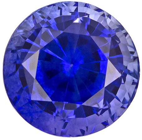 Rare & Gemmy Sapphire Loose Gemstone in Round Cut, Intense Rich Blue, 6 mm, 1.29 carats