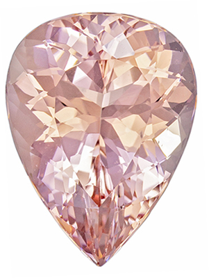 Great Buy Pink Morganite Pear Cut, 8.85 carats, 16.8 x 12.6 mm, Rich Peachy Pink Color