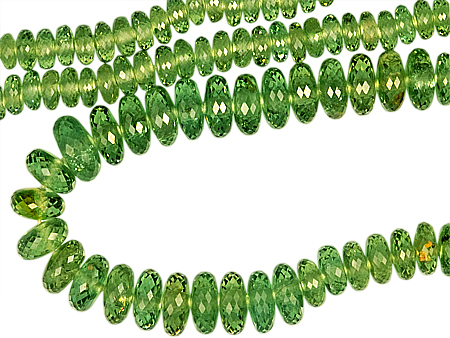 Rare Large, Beautiful Graduated Faceted Bead Strand, Scintillating Namibian Green Demantoid Garnet, Faceted Bead, 3.5 x 6 mm, 111.5 carats