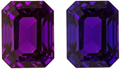 Rare Matched Purple Sapphires in Emerald Cut, GIA Certed No Heat, 2.16 carats, 7.54 x 5.83 x 4.56 mm
