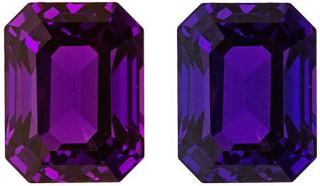 Very Desirable No Heat GIA Certified Purple to Blue Color Change Sapphire Gemstone, Emerald Cut, 7.54 x 5.83 x 4.56 mm, 2.16 carats