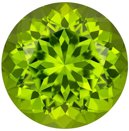 Rare Neon Like Color in Peridot Loose Gem in Round Cut, Intense Lime Green Color, 15.3 mm, 14.91 carats
