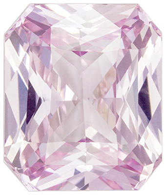Rare No Heat GIA Certified Pink Sapphire Genuine Gemstone, Radiant Cut, Light Baby Pink, 9.54 x 8.11 x 5.15 mm, 4.11 carats