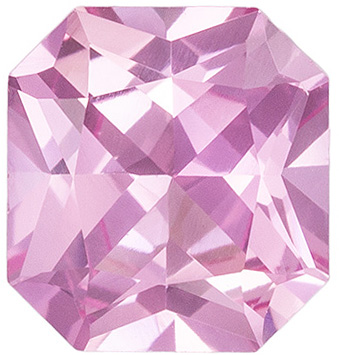 Rare No Heat Pink Sapphire Gemstone in Radiant Cut, 0.87 carats, Medium Baby Pink, 5.85 x 5.45 x 3.19 mm