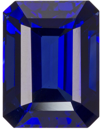 Rare Quality Blue Sapphire Gem in Emerald Cut, Vivid Blue, 8.8 x 6.7 mm, 3.04 carats