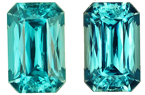 Rare Radiant Cut in Bright & Lively Blue Zircon Well Matched Gems, 10.3 x 6.8mm, 9.5 carats