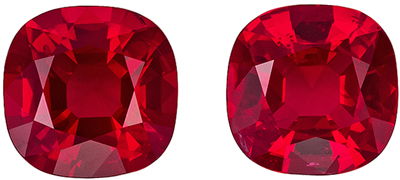 Rare Ruby Well Matched Pair, 5.2 mm, Vivid Pure Red, Cushion Cut, 1.33 carats