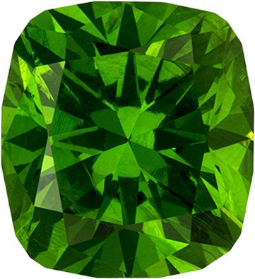 Rare Russian Demantoid Garnet Gem in Cushion Cut, Grass Green Color in 6 x 5.4 mm, 1.15 carats