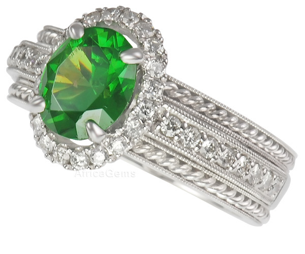 Rare Russian Demantoid Garnet & Pave Diamond Ring - Braided Gold and Diamond Band - SOLD