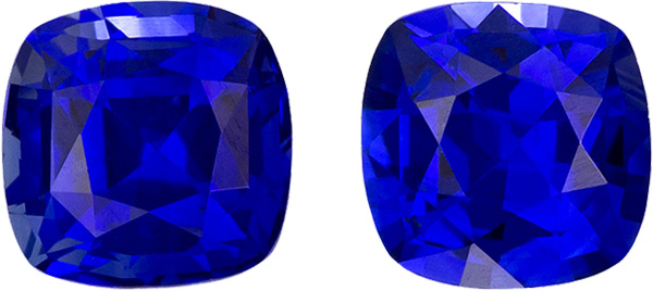 Rare Sapphire Well Matched Pair in Cushion Cut, Vivid Rich Blue, 4 mm, 0.81 Carats