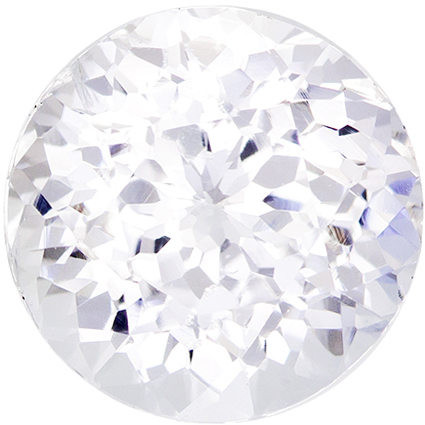 Rare Size in Colorless White Sapphire Round Gem in Pure Colorless White, 10.5 mm, 6.25 carats