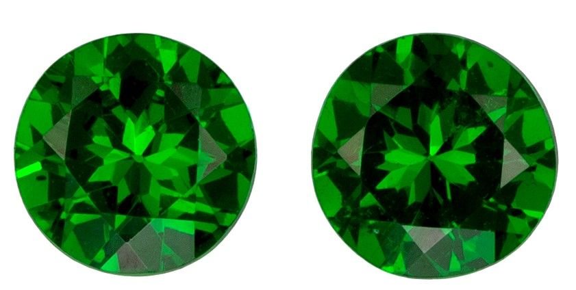 Rare Stone in 0.56 carats Tsavorite Loose Gemstone Pair in Round Cut, Grass Green, 4.1 mm