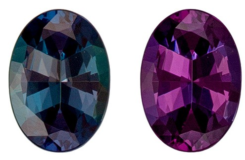 Rare Stone in 0.58 carats Alexandrite Genuine Gemstone in Oval Cut, Medium Teal to Vivid Eggplant, 6.1 x 4.4 mm