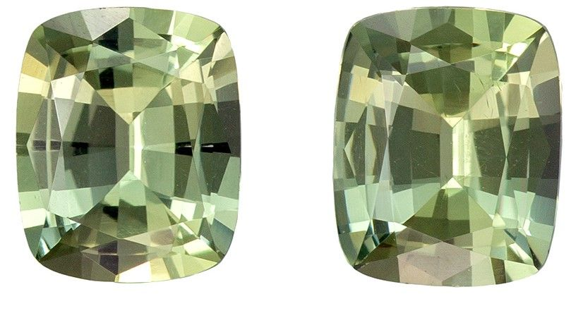 Rare Stone in 1.57 carats Sapphire Loose Gemstone Pair in Cushion Cut, Lemon Green, 6 x 4.8 mm