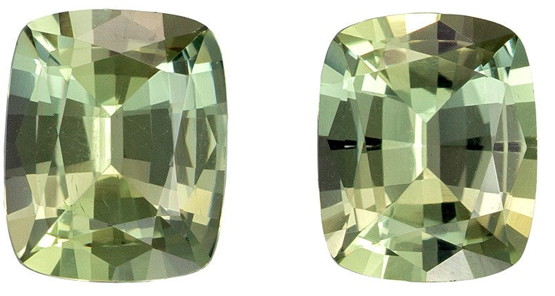 Natural Stunning  Yellowish Green Gemstone Pair, 1.57 carats, Cushion Shape, 6 x 4.8 mm, Great Colored Gems