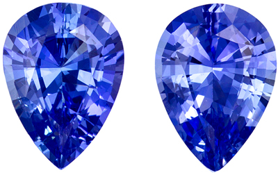 Rare Stone in 1.66 carats Sapphire Loose Gemstone Pair in Pear Cut, Intense Blue, 7 x 5 mm