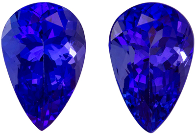 Rare Stone in 2.99 carats Tanzanite Loose Genuine Gemstone Pair in Pear Cut, Intense Blue, 9 x 6 mm