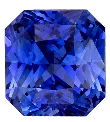 Rare Stone in 7.1 x 6.7 mm Sapphire Loose Gemstone in Radiant Cut, Vivid Blue, 2.53 carats