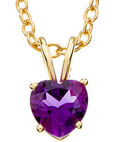 Ravishing 1.36ct 6mm Heart-Shaped Genuine Amethyst Necklace set in 14 karat Yellow Gold - Free Chain