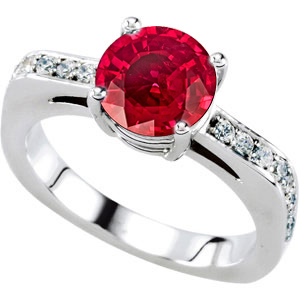 Ravishing Fine Red Natural 1 carat 6mm Ruby Gemstone set in Attractive Solitaire Engagement Ring - Metal Options