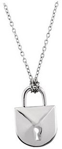 Ravishing Lock Style Pendant With Heart Shape Diamond Filled Accent - Versatile Accessory - FREE Chain Included With Pendant - SOLD