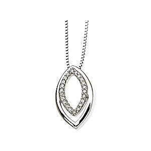 Ravishing .Open Marquise Shape Pendant With an Inner .1ct Diamond Studded Frame in 14k White Gold - FREE Chain