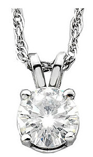 Ravishing Round Created Moissanite 4-Prong Classic Solitaire Pendant - Metal Type and Stone Size Options