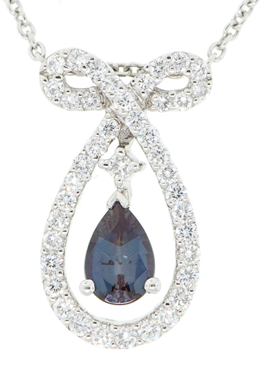 Real AAA Grade Brazilian 6.5x4.5mm Alexandrite 0.50 carats & Low Price on Diamond Custom Pendant in Platinum