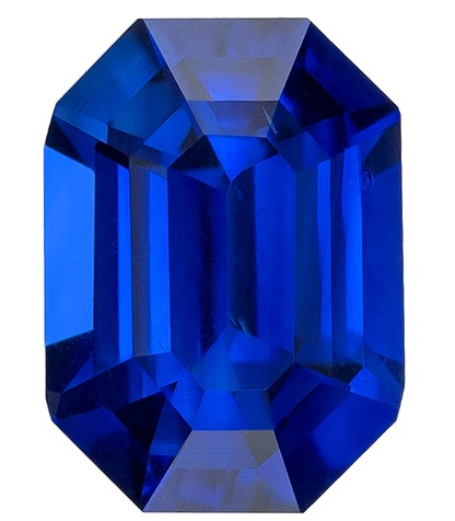 Real Blue Sapphire Gemstone, Emerald Cut, 1.1 carats, 6.7 x 4.9 mm , AfricaGems Certified - A Low Price