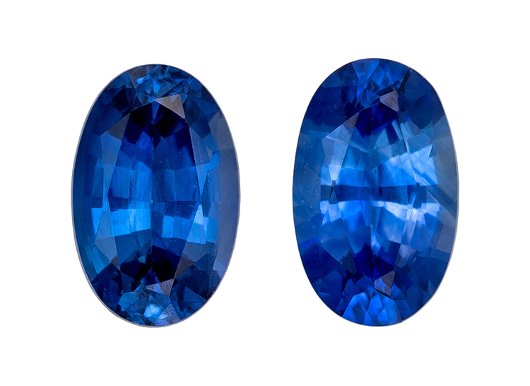 Real Blue Sapphire Gemstones, Oval Cut, 0.57 carats, 4.9 x 3 mm Matching Pair, AfricaGems Certified - A Deal