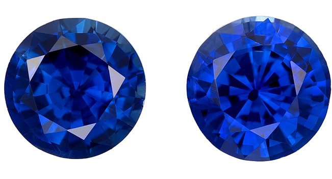 Real Blue Sapphire Gemstones, Round Cut, 0.84 carats, 4.4 mm Matching Pair, AfricaGems Certified - A Deal