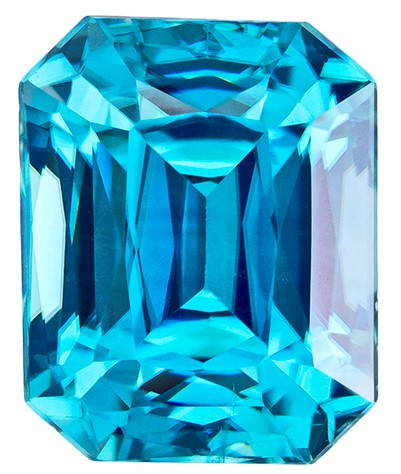 Real Blue Zircon Gemstone, Radiant Cut, 2.6 carats, 7.4 x 6 mm , AfricaGems Certified - A Great Buy