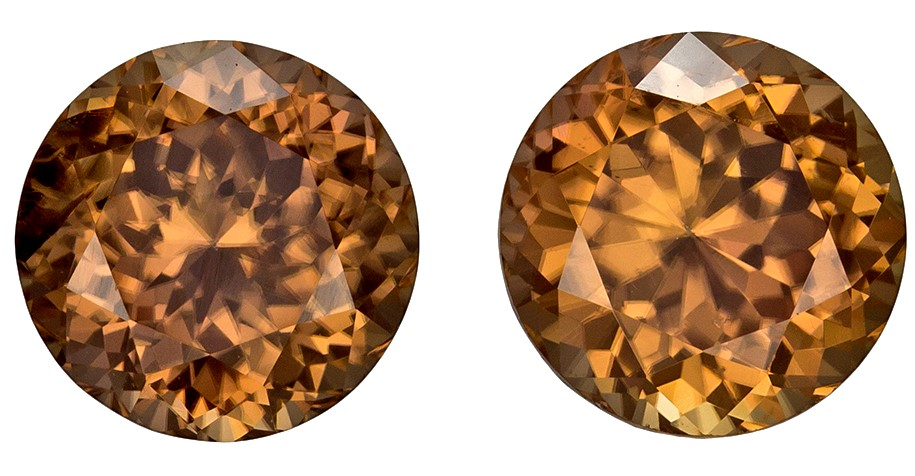 Real Brown Zircon Gemstones, Round Cut, 4.92 carats, 7.4 mm Matching Pair, AfricaGems Certified - Great for Studs