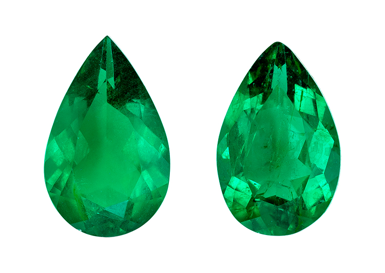 Real Vibrant Emerald Gemstones, Pear Cut, 1.29 carats, 8 x 5 mm Matching Pair, AfricaGems Certified - A Deal