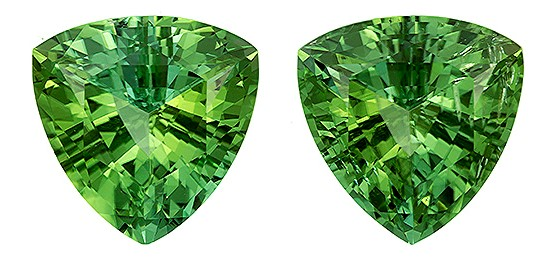 Real Green Tourmaline Gemstones, Trillion Cut, 5.33 carats, 9.2 mm Matching Pair, AfricaGems Certified - Truly Stunning