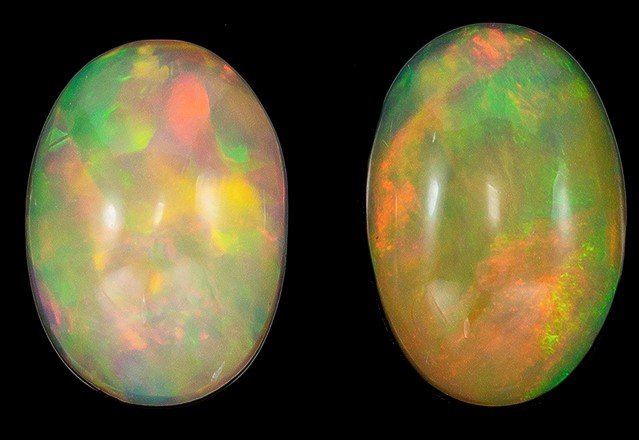 Real Fire Ethiopian Opal Gemstones, Oval Cut, 1.59 carats, 9.5 x 6.5 mm Matching Pair, AfricaGems Certified