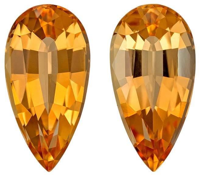 Real Precious Topaz Gemstones, Pear Cut, 6.6 carats, 13.2 x 6.7 mm Matching Pair, AfricaGems Certified - A Great Colored Gem