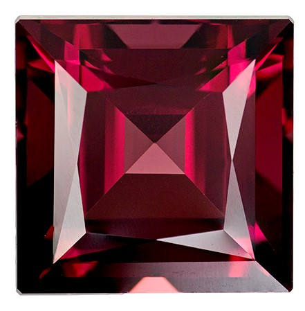 Real Rich Rhodolite Gemstone, Square Cut, 4.37 carats, 8.6 mm , AfricaGems Certified - A Great Buy