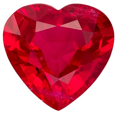 Real Fiery Ruby Gemstone, Heart Cut, 0.51 carats, 5 x 4.9 mm , AfricaGems Certified - Truly Stunning