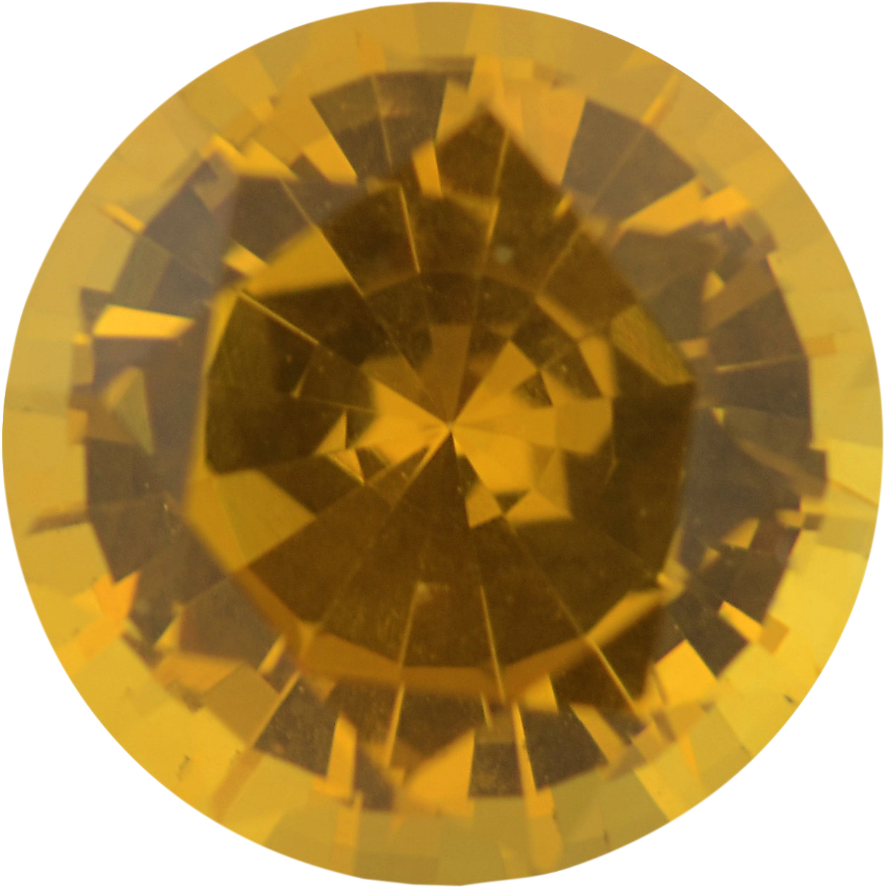 Real Sapphire Loose Gem in Round Cut, Vibrant Orangy Yellow, 6 mm, 1.01 Carats