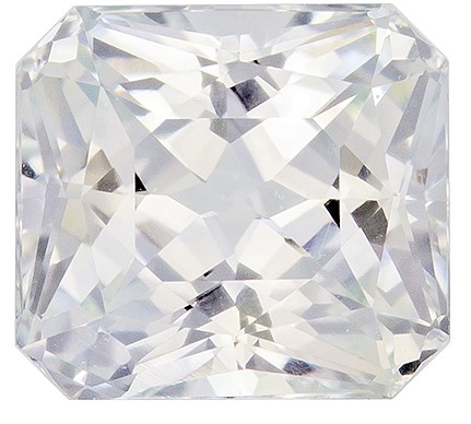 Real White Sapphire Gemstone, Radiant Cut, 1.61 carats, 6.4 x 5.8 mm , AfricaGems Certified - A Low Price