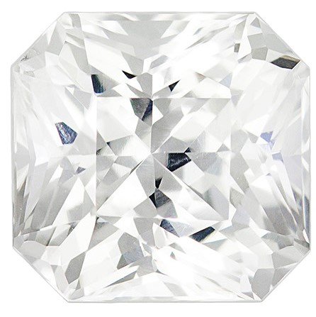 Real White Sapphire Gemstone, Radiant Cut, 2.34 carats, 6.9 x 6.7 mm , AfricaGems Certified - Truly Stunning