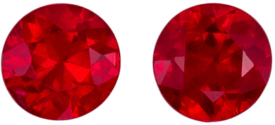 Really Great Ruby Round Cut Well Matched Gemstone Pair, Rich Pure Red, 4.5 mm, 0.9 carats